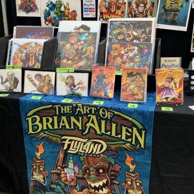 Just got setup at @replayfx in Pittsburgh- it's hot as hell in here but I think it's going to be a good show. This is my home for the next four days. Slim Jim's and Mountain Dew will carry me through it. Finally getting my booth the way I want it. If you see anything you want please message me.#pinballart #arcadeart #retroart #conventionartist