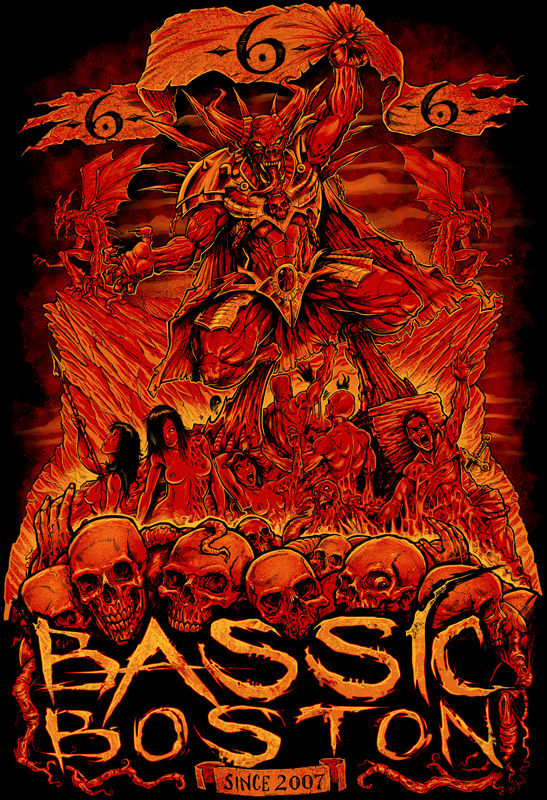 T-Shirt illustration of a demon in hell for music festival