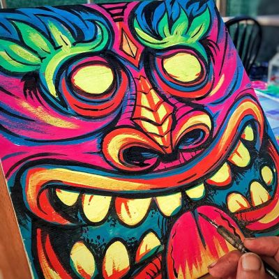 Blacklight Tikis I painted - I took some time out this summer for some personal projects, and this series of Tikis I painted were one of my favorites. I had a ton of blacklight paint left over from a mural I painted in the Haunted Mansion in Rehoboth Beach, Delaware a few years ago and thought I'd put them to use.#blacklightpainting #blacklightart #tikiart #tikibar #beachart #tikitotem #surfart #tikiartist #beach #artwork