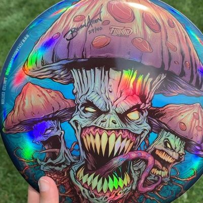 Received my Foil Evil Mushroom Discs from Discraft the other day and already shipped most of them out. Thank you so much for your support! I believe I have 10 left if anyone is interested. Only 40 made. Discraft Buzzz. Signed and numbered! I can't tell you how much I appreciate everyone's support on these!Grab it here: https://www.flylanddesigns.com/custom-illustrated-disc-golf-disc/#discgolf #frisbeegolf #discraftdiscs #teamdiscraft #detroitdisccompany #disc#psychedelicart #meditation #trippyart #cannabisart #mushroomart #marijuanaartist #cannabiscommunity