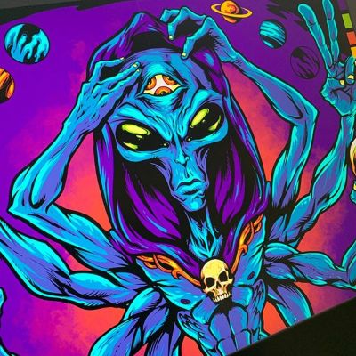 Mystic Alien poster illustration I'm working on for a client - this will be silk-screened, so I have to approach the coloring differently than I normally would. Keeping the colors under 8, and keeping them separated in different layer groups. What are you working on today?#alienart #psychedelicart #meditation #trippyart #cannabisart #mushroomart #marijuanaartist #cannabiscommunity