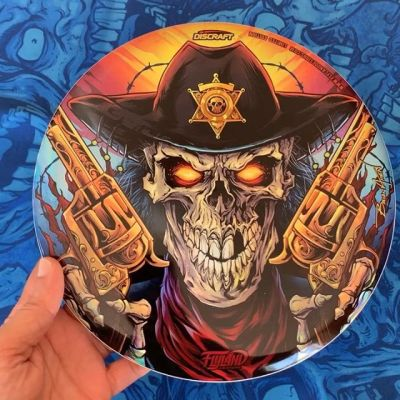 Just received my next Foil Disc from Discraft with my artwork - the Skeleton Gunslinger! Limited Edition metallic foil on Discraft Buzzz disc. Signed and numbered. I only have 15 left if you're interested, let me know!#discgolf #frisbeegolf #discraftdiscs #teamdiscraft #detroitdisccompany #disc #skullart #skulls #skulldesign #darkartist #darkart #skullartwork