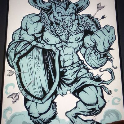 Minotaur character design I was working on in Clip Studio Paint on a Wacom Cintiq Pro. What are you working on?#minotaur #minotaurart #mascot #characterdesign #characterdesigner #conceptartist #mascotdesign #characterart