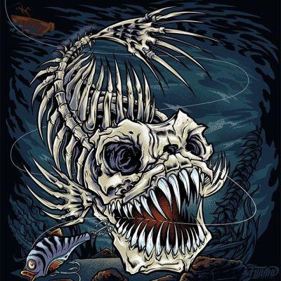 Skeleton Fish I illustrated for a favorite client of mine called Take A Break.#fish #fishingapparel #sportsmenapparel #sportsmen #fishing #appareldesign #tshirtdesign #tshirtartist #screenprintart #dtg