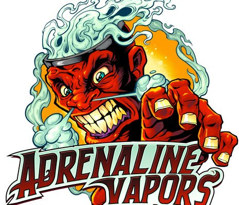 Logo design of a big angry head with smoke coming from its head for a packaging label design