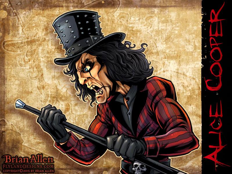 Caricature illustration of Heavy Metal Icon Alice Cooper