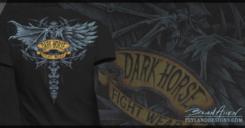 T-Shirt illustration of demon and angel wings for MMA apparel company