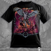 T-Shirt illustration of an archangel slaying demons.