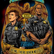 Two heroic police officers stand