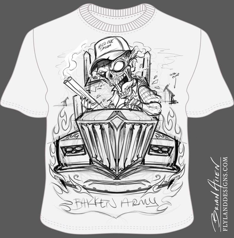 Bakken Oil Field Trucker T-Shirt Design