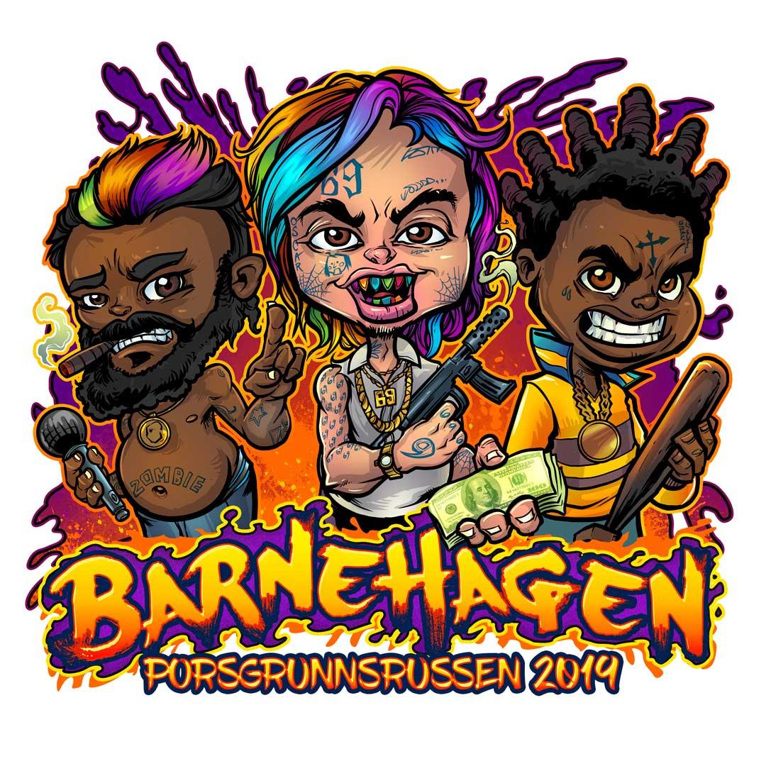 Three notorious rappers as gangs