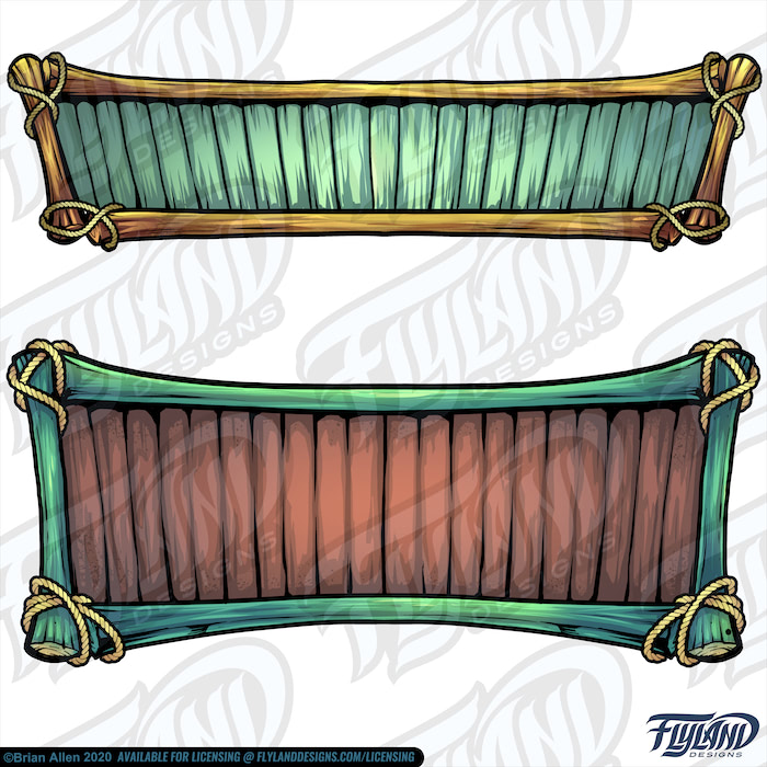 The top sign is made with green planks and golden sticks, and the bottom sign is made with brown planks and green sticks with the ropes wrapping around the corners to holding it together. Stock Artwork by freelance illustrator Brian Allen