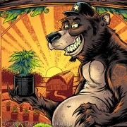 hipster bear with hat and tattoo