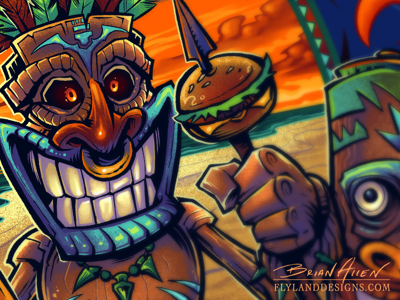 Tiki Man T-Shirt Design For Restaurant