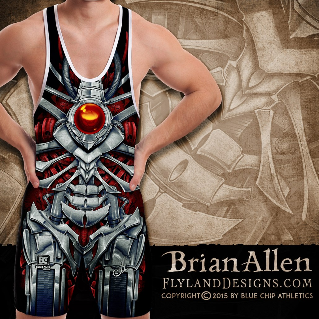 Mechanized metal skeleton illustration for dye-sublimated wrestling singlets.