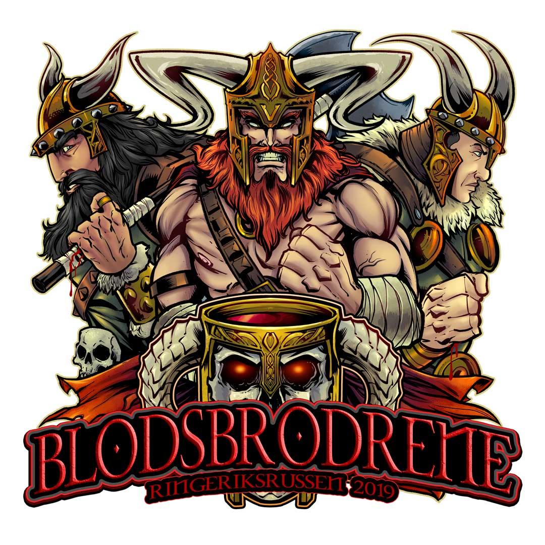 Three viking brothers wielding a