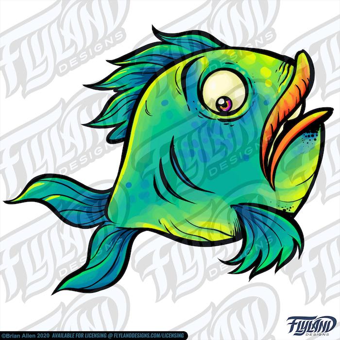 Blue green, yellow scared fish
