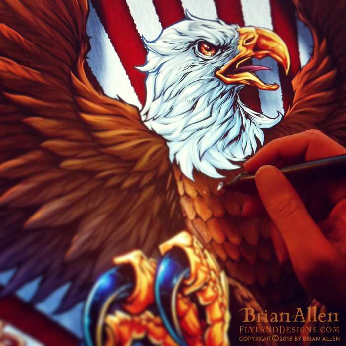 Patriotic Eagle illustration for dye-sublimated wrestling singlets.