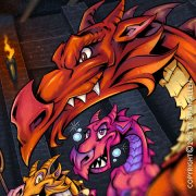 Banner design for hot sauce featuring dragons in a dungeon