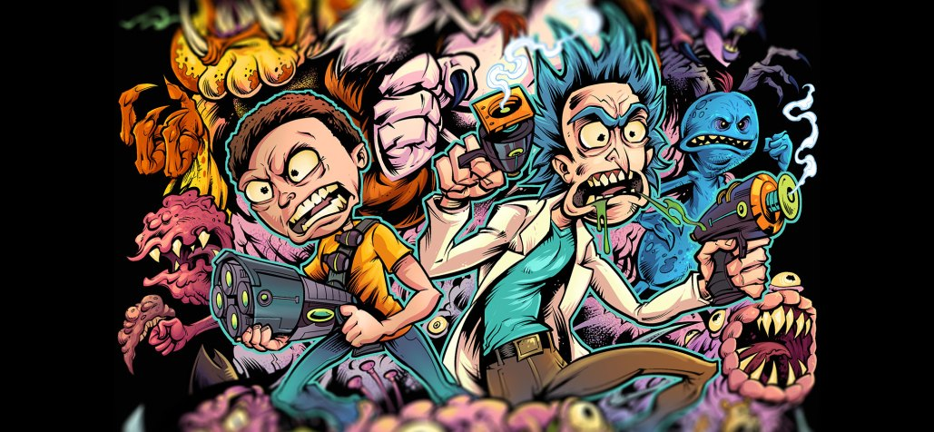 Detailed colorful rick and morty t-shirt illustration