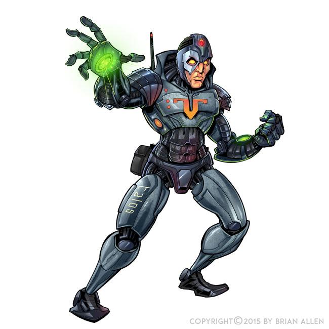Cyborg robot mascot character