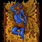 Illustration of a blue fairy with wings in front of oil and wax