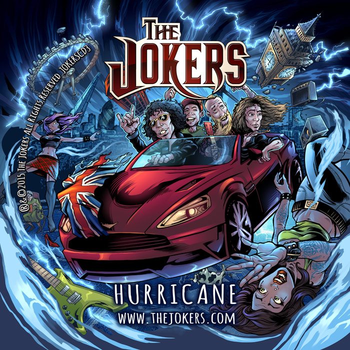 Album cover illustration of The Jokers in a hurricane and rock and roll.