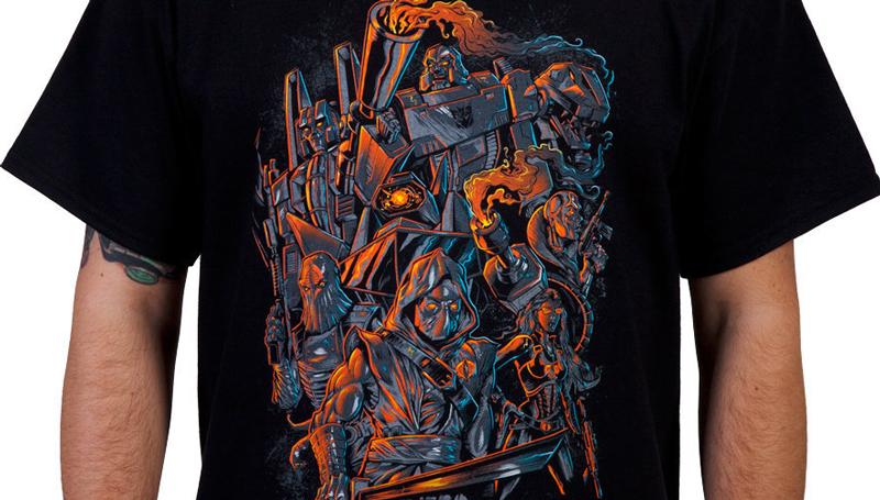 Silk screen t-shirt illustration of Cobra, Transformers, Gi Joe, and Decepticons