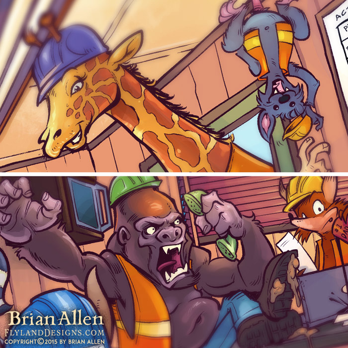 Detailed children's book illustration of animals at a construction site.