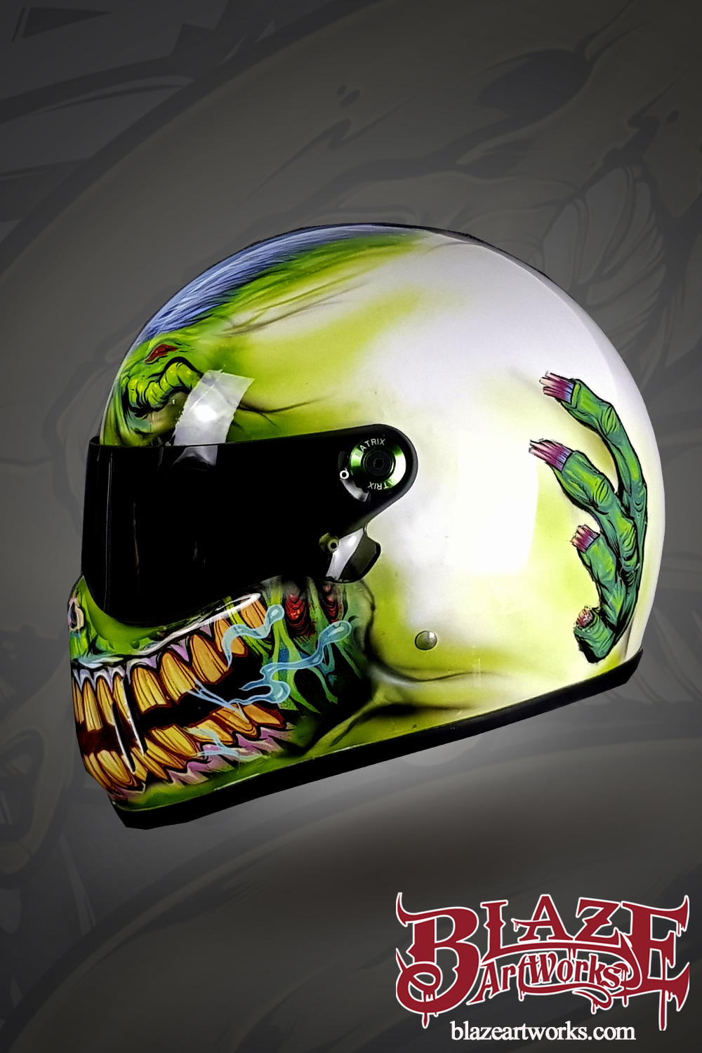 Vinyl rap helmet of a zombie wit