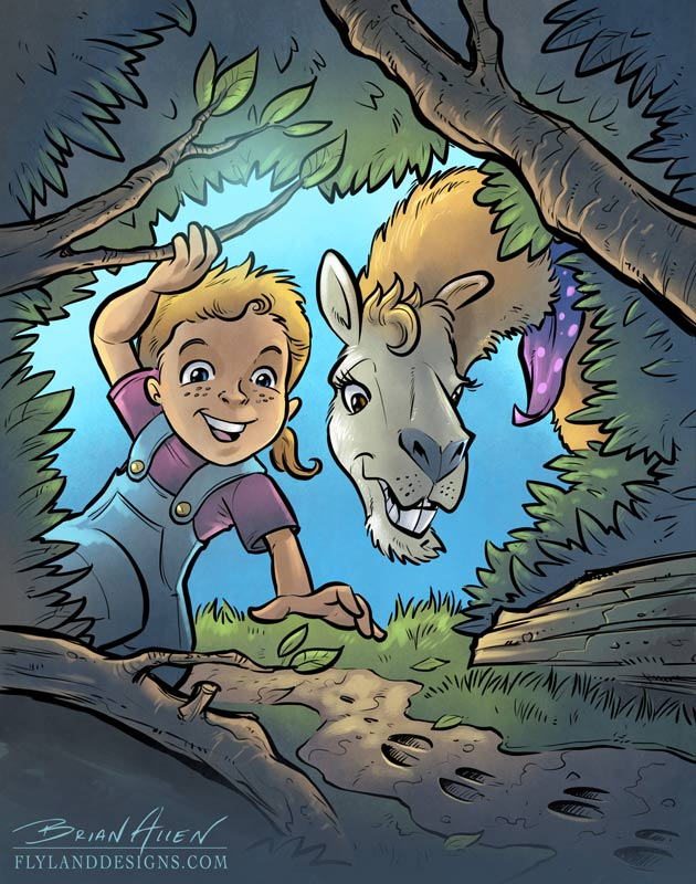 Children's book illustration of a llama and little girl