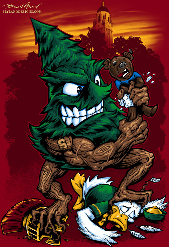 Stanford Tree Mascot T-Shirt Illustration