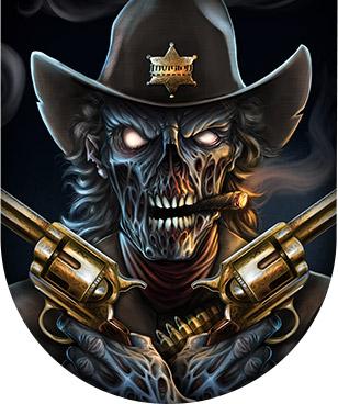 Dark zombie cowboy gunslinger holding two smoking guns.
