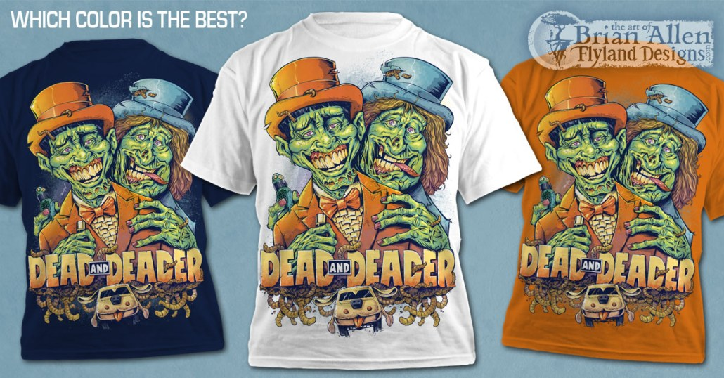 Parody tribute t-shirt illustration of Dumb and Dumber Harry and Lloyd as zombies created by Freelance Illustrator Brian Allen