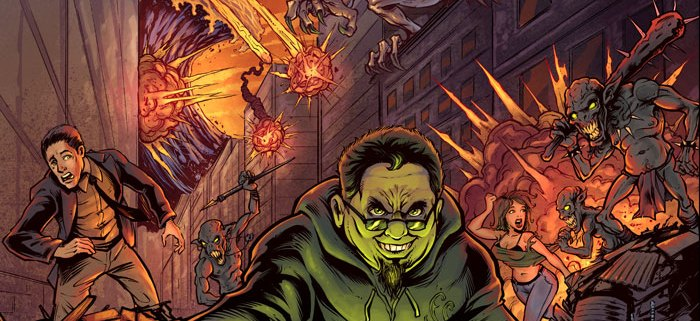 Album cover illustration of kid rolling dice in destroyed city with monsters.