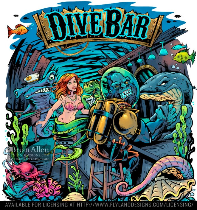 underwater bar with a mermaid, g