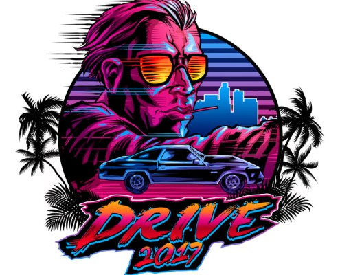 Russ logo with 80s vibe of guy d