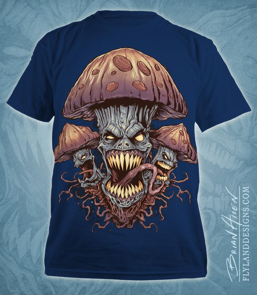 Illustration of evil mushrooms for a marijuana apparel brand