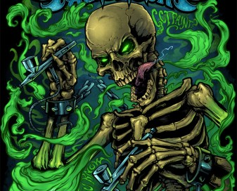 T-Shirt illustration of a evil skeleton with airbrushes and smoke