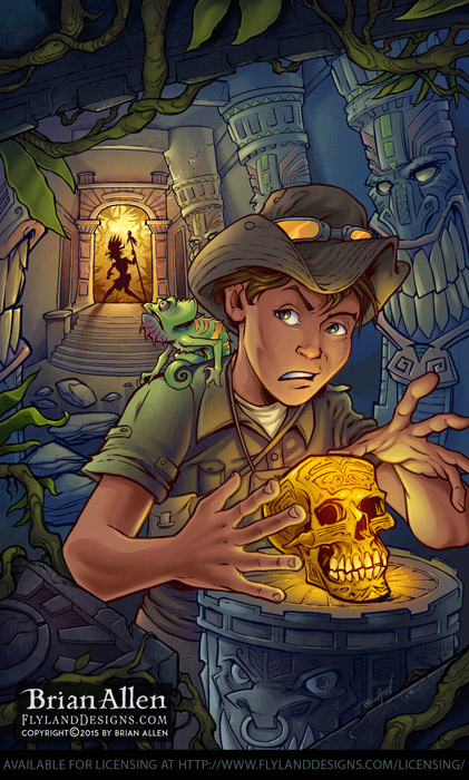 Young adventurer in a dark temple with golden skull and tiki totems.
