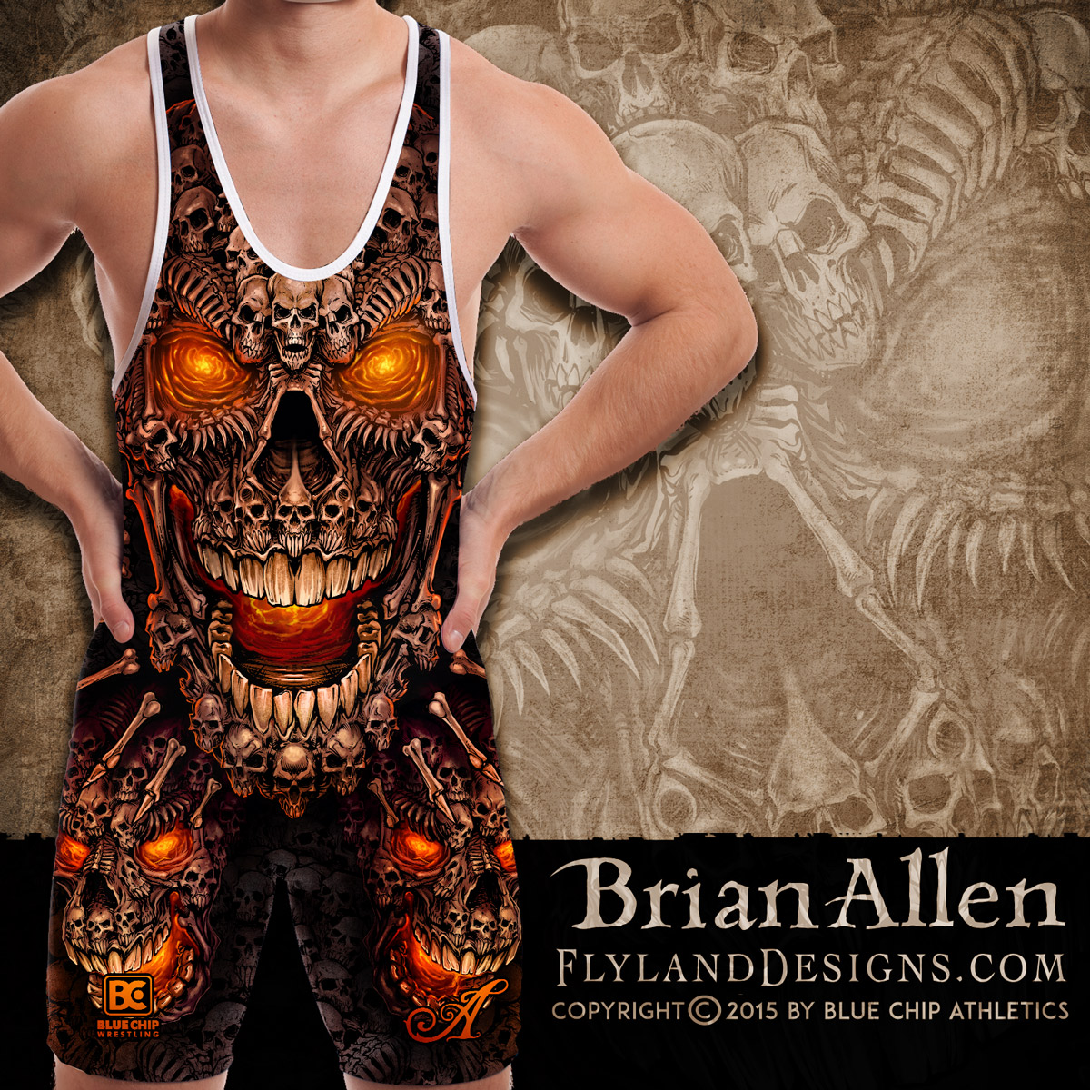 Giant skull made of smaller skulls illustration for dye-sublimated wrestling singlets.