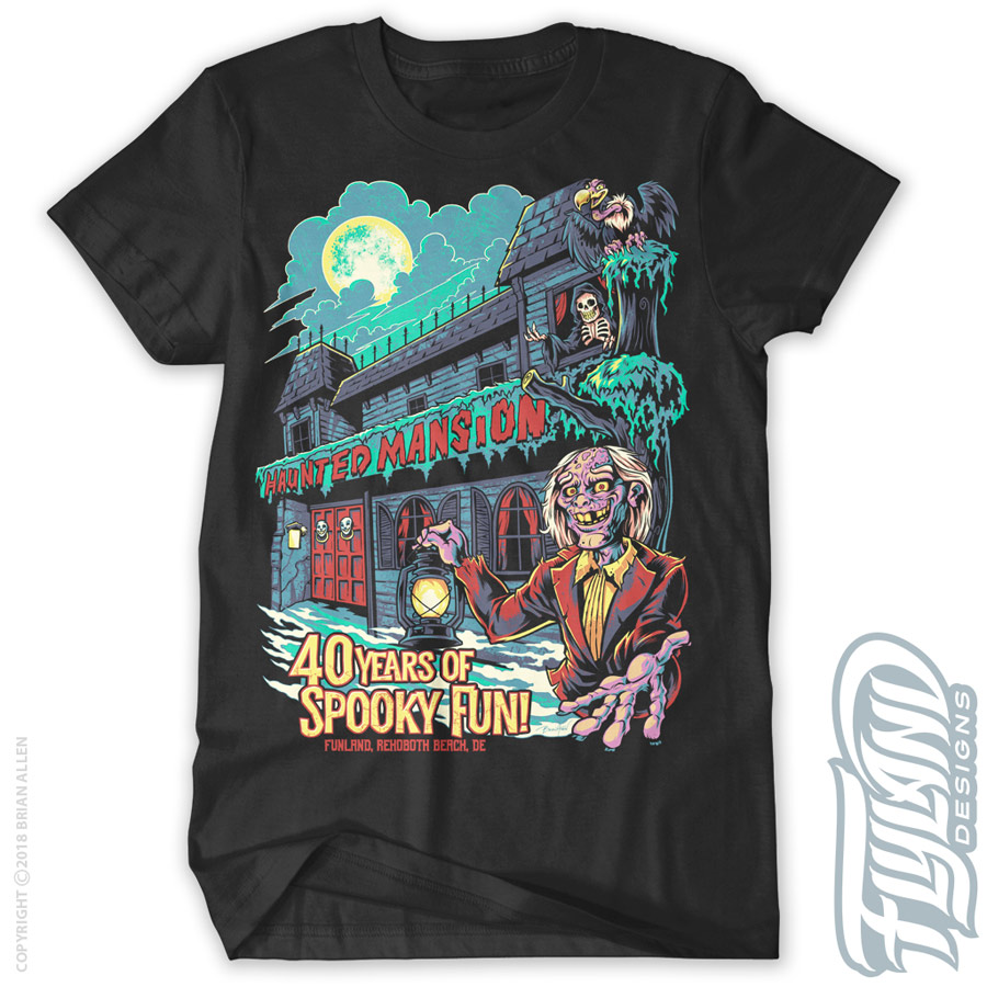 —Haunted Mansion at night with