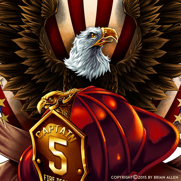 eagle and fire helmet tshirt design flyland designs