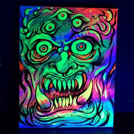 Colorful acrylic blacklight pain