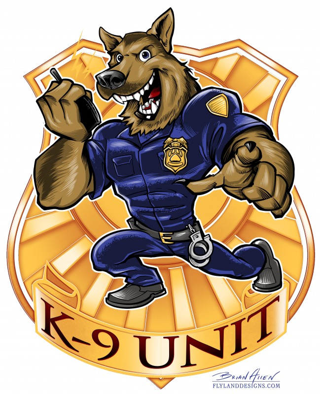Mascot character design of a German Shepherd police dog