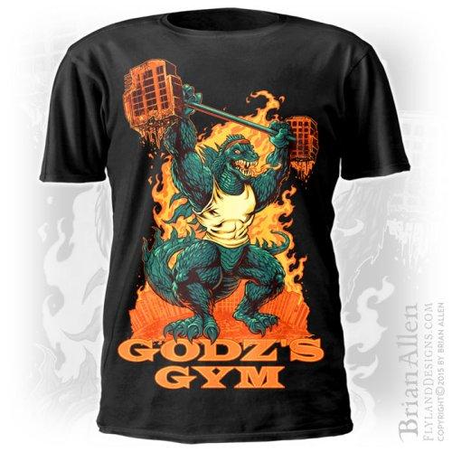 Godzilla lifting weights in a de