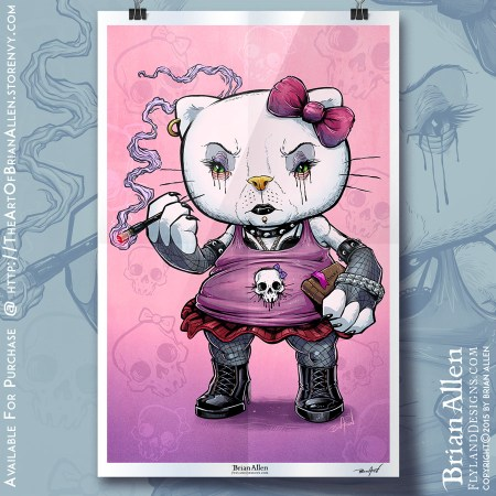Art Print of a Goth Hello Kitty