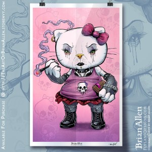 Art Print of a Goth Hello Kitty