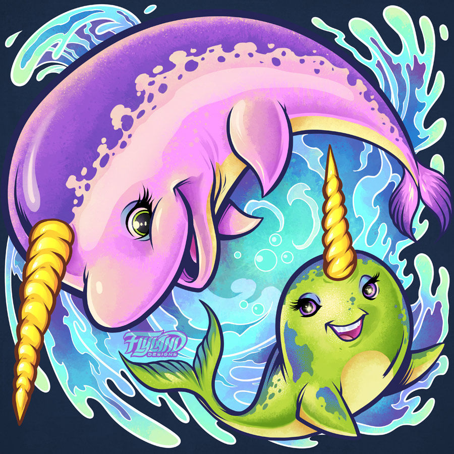 cute caroon narwhal whale family