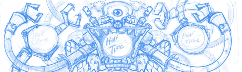 Beer label growler illustration design of a robot for silk-screening